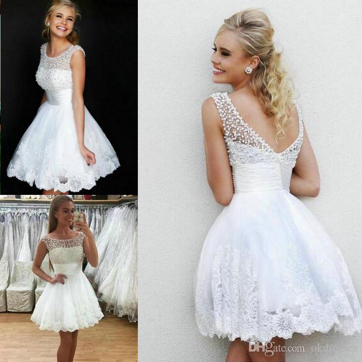 5afe65813 Compre Vestidos De Cóctel Blancos Vestidos De Dama De Honor Cortos De  Encaje Princesa De Cristal   Abalorios Tamaño Personalizado Vestidos Cortos    Mini De ...