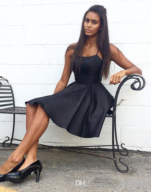 Sexy Criss Cross Back Black Cocktail Dresses 2018 Spaghetti Straps Satin Short Homecoming Party Gowns Backless Short Prom Dresses