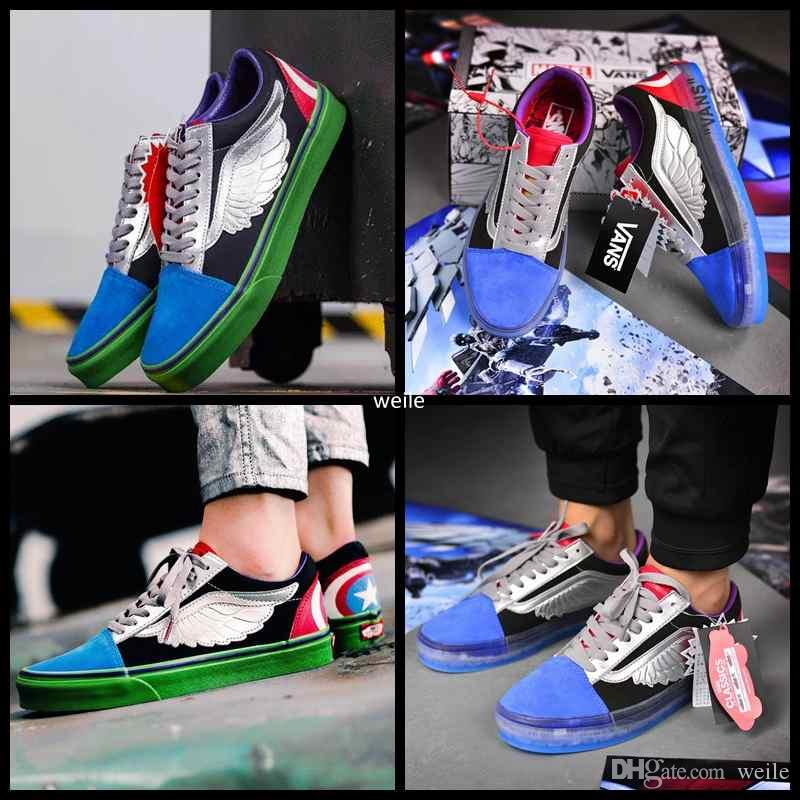 e79eca06fce1 2019 2018 New Old Skool Marvel Canvas Skateboard Designer Sports Shoes Mens  Womens Skate Sneakers Flying V Casual Trainers Zapatillas De Deporte From  Weile