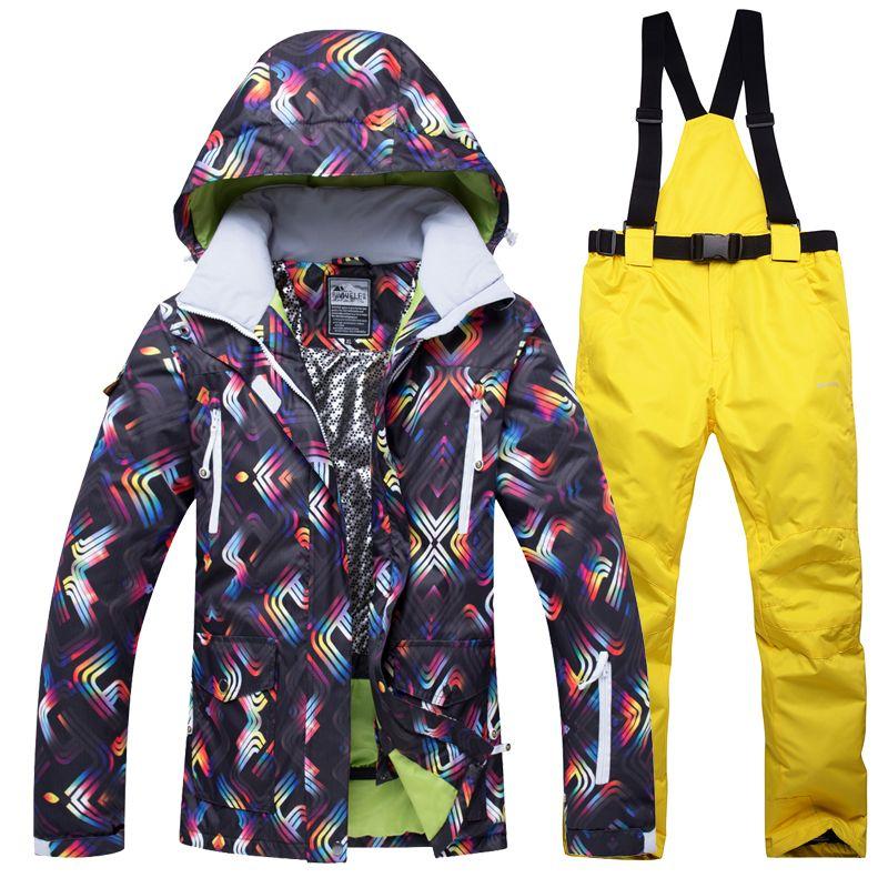2018 New Winter Ski Jacket+Pants Women Snowboarding Suits Waterproof ... c9c254d0a