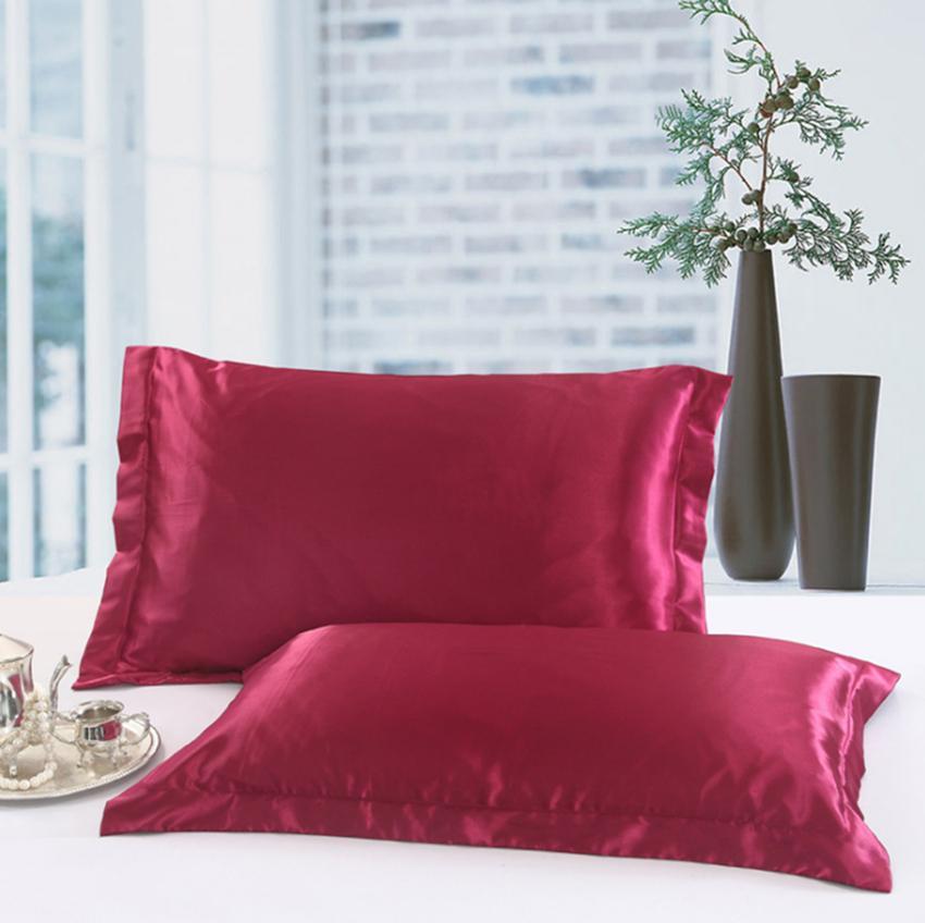 Color sólido Fundas de almohada de seda de doble cara Diseño de sobres Funda de almohada de alta calidad Charmeuse seda satinado funda de almohada GGA100