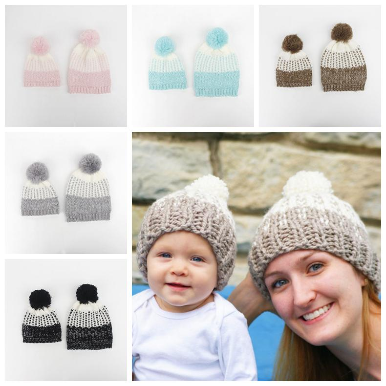 Set Family Matching Hat Solid Knitted Hat Mom Baby Pompoms Hats