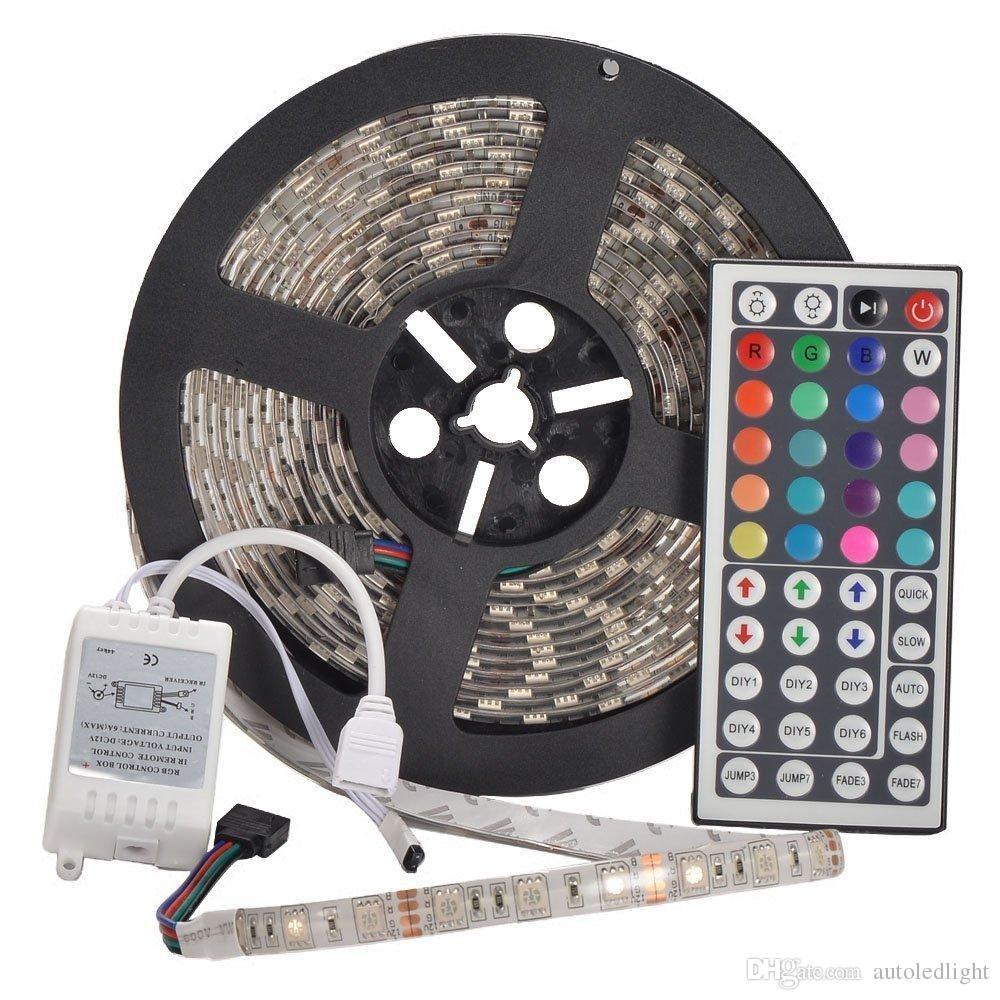 Tiras À Prova D 'Água IP65 5 M 300 Leds 5050 RGB Tiras de Led 60 leds controlador remoto 12 V 5A fonte de alimentação