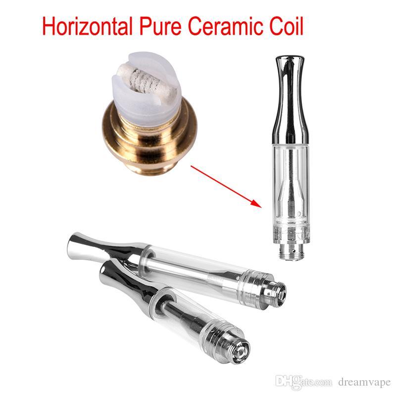 Best Ceramic Coil Vape Pen Cartridge 1.2mm Intake Holes Atomizer 510 Glass Vaporizer Cartridge Thick Oil Tank With Metal Tip