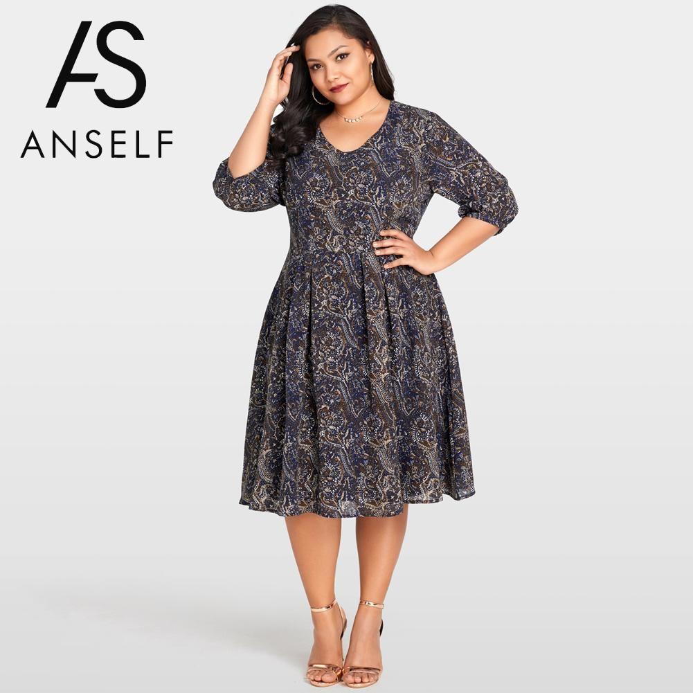 2019 Women Plus Size Dress Chiffon Contrast Paisley Print Vintage ...
