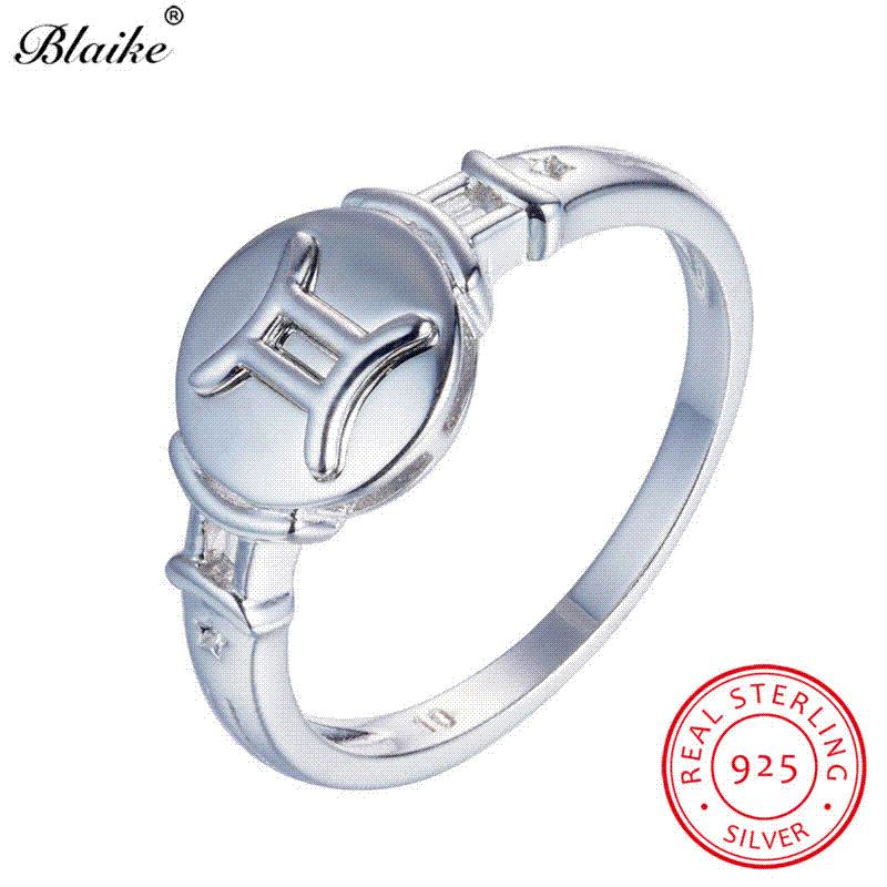 Blaike 100 Real 925 Sterling Silver Gemini Rings For Women Men Vintage Fashion Constellation Ring Fine