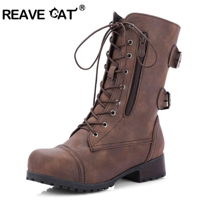 Großhandel REAVE CAT Stiefel Frauen Herbst Winter Motorrad Stiefel Schnalle  Damen Schuhe Zip Schnüren Sich Armee Wandern Knöchel Für Frauen A1043 Von  ... 3d3a589275