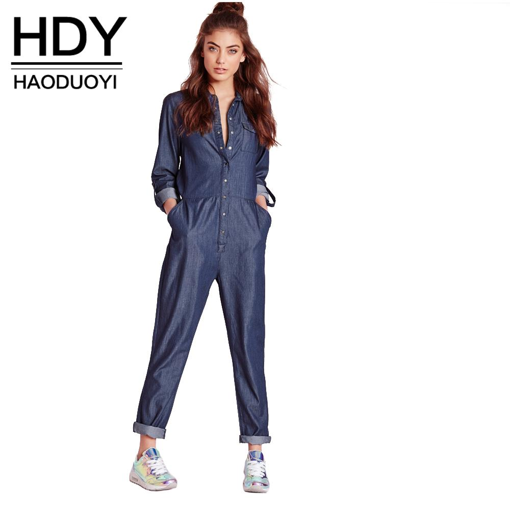 eb16beb229 HDY Haoduoyi Fashion Winter Autumn Jumpsuits Women Long Sleeve Female Shirt  Denim Jumpsuits Loose Blue Ladies Jumpsuits Jeans Jumpsuit Online with ...