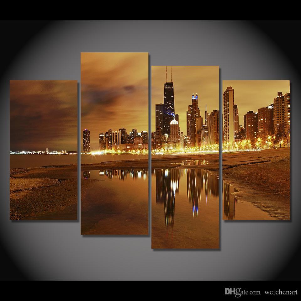 Großhandel Leinwand Malerei 4 Stücke Leinwand Kunst Stadt Chicago ...