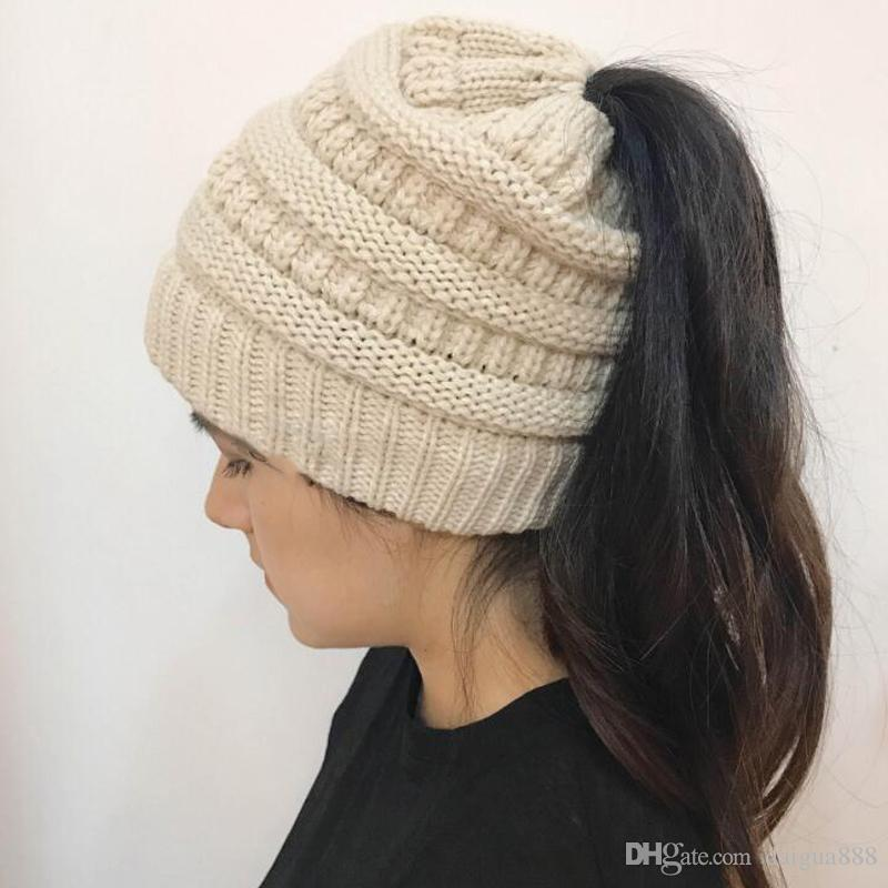 2019 NEW Women CC Ponytail Caps CC Knitted Beanie Fashion Girls Winter Warm  Hat Back Hole Pony Tail Autumn Casual Beanies CCA7235 From Daigua888 a859cc2f9266