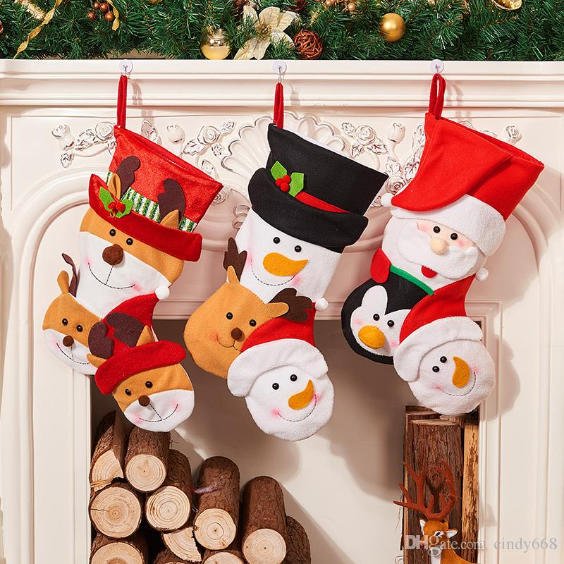 childrens retro christmas stockings gift bags reindeer personality bag new year gingerbread socks candy pouch party decorations christmas sale decorations