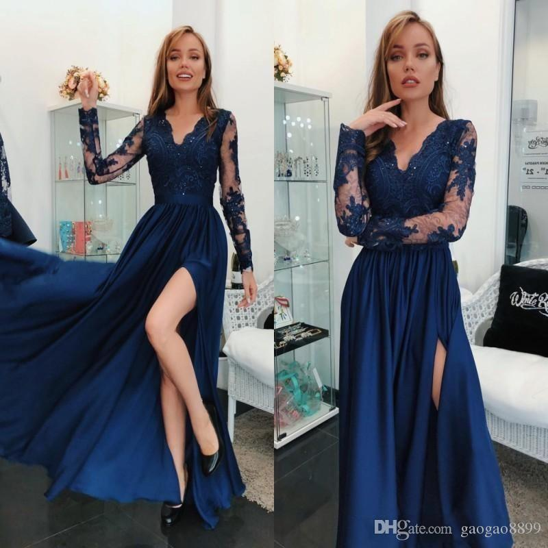 2466e170803 Cheap Sexy High Split 2k18 Prom Dresses Long Sleeves With Appliques Beads  High Slit Special Occasion Floor Length Formal Evening Party Gowns Evening  Dresses ...
