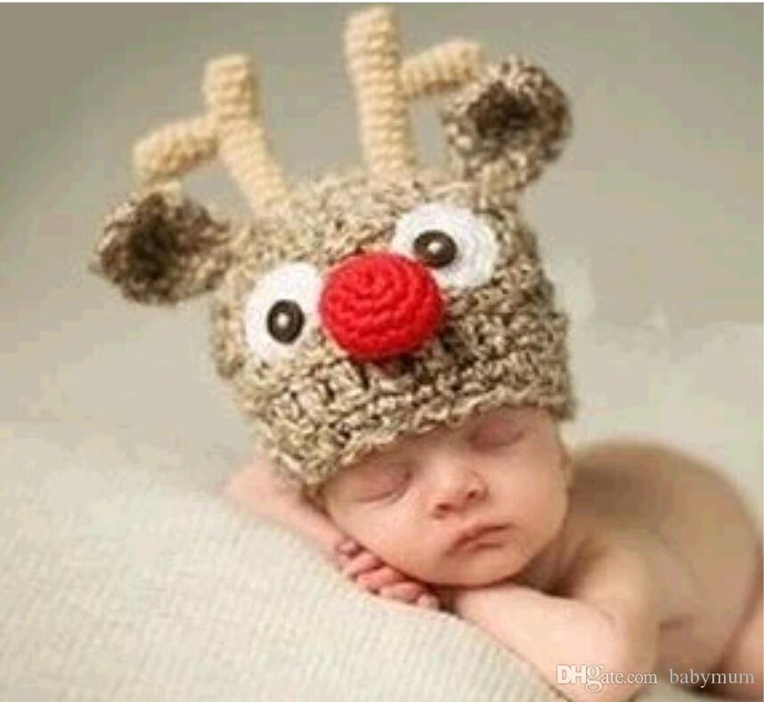 Christmas decoration party supplies Reindeer Antler Santa Hat festival baby beanies hood Cartoon animal infant cap Xmas kids gift