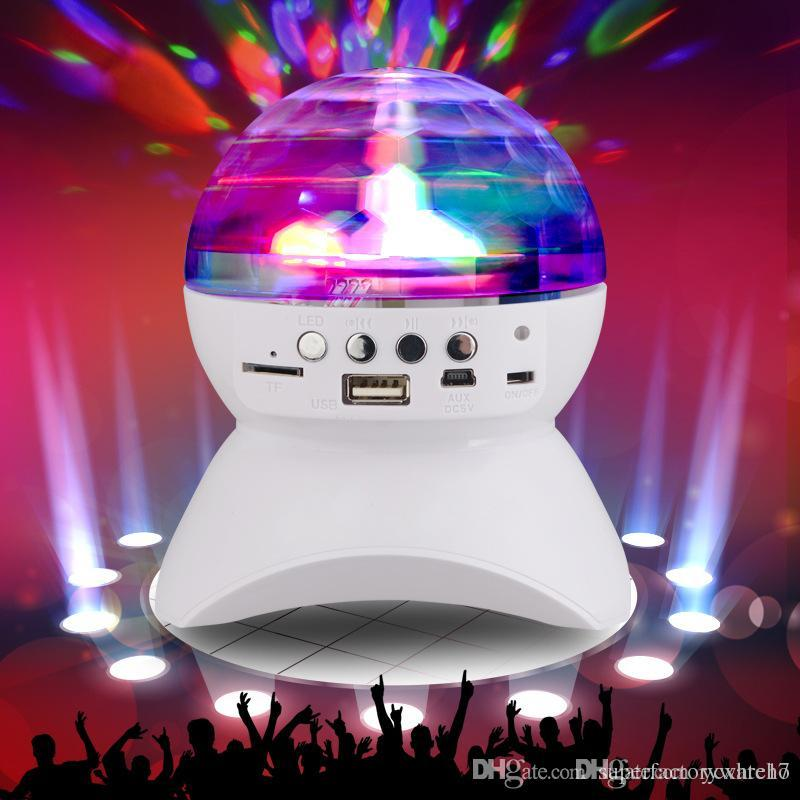1PCS DJ Party Bluetooth Speaker Built-In Light Show Stage Effect Lighting RGB Color Changing LED Crystal Ball Support TF AUX FM