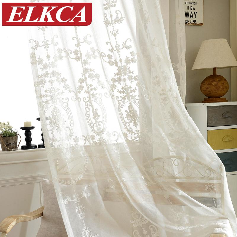 2019 European White Embroidered Voile Curtains Bedroom Sheer ...