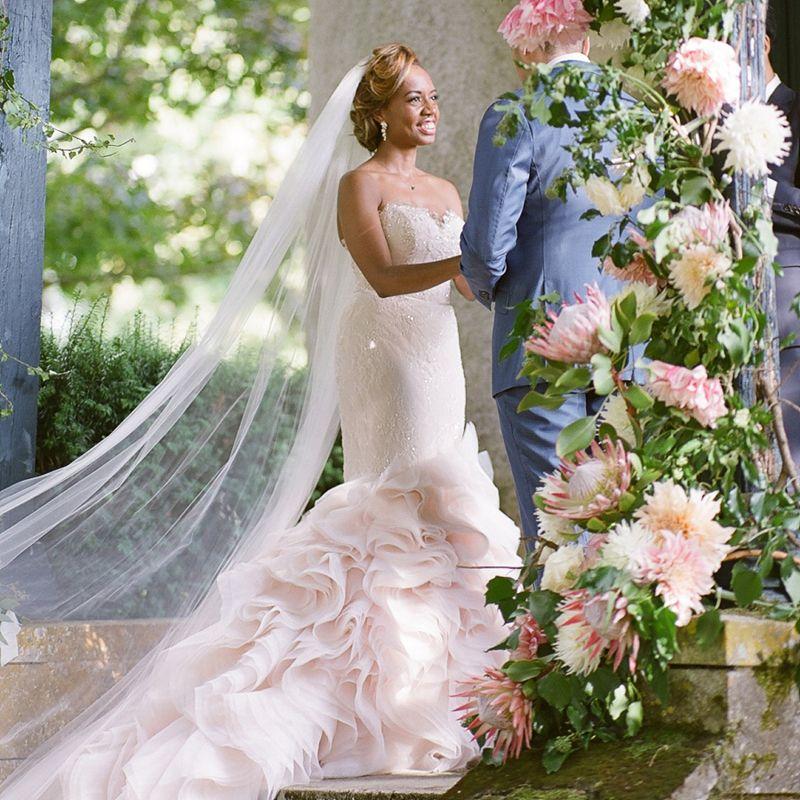 Luxury Pink Mermaid Wedding Dress 2018 African Black Girl Lace