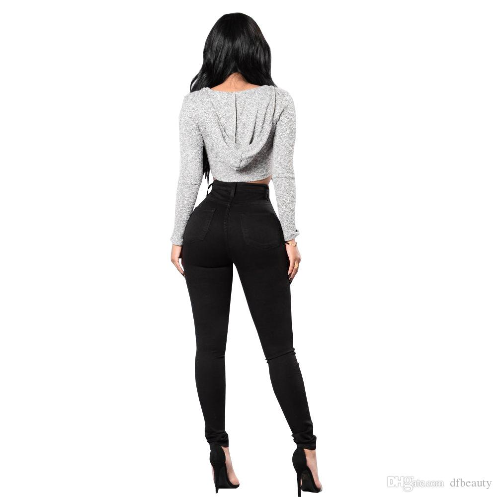 Roupas Femininas Sexy Skinny Jeans Mulheres Cintura Alta Estiramento Slim Fit Denim Calças Denim Calças Jeans Liso Skinny Preto Branco