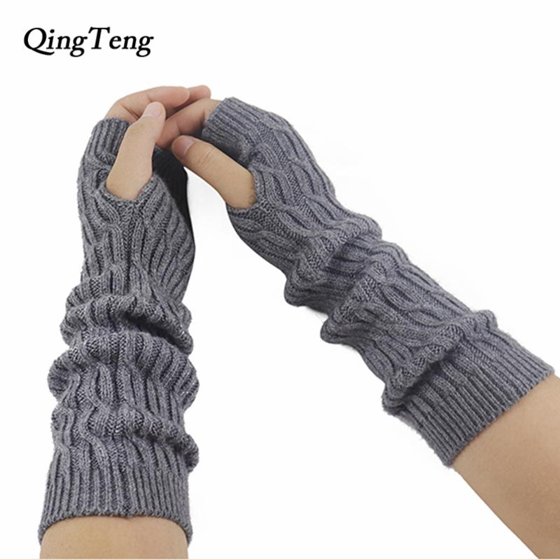 b774d180457 2019 Fingerless Gloves Winter Long Cashmere Wool Cable Knitted Mittens  Women s Autumn Black Elbow Arm Warmers Half Finger From Naixing