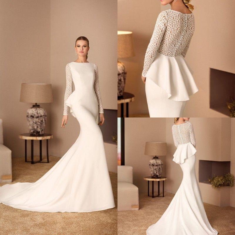 Cabotine Modest 2019 Mermaid Wedding Dresses Long Sleeve Lace Satin Trumpet  Bridal Gowns Jewel Neck Ladies Vestidos Wedding Dress Mermaids Wedding Dress  ... 3a506a010