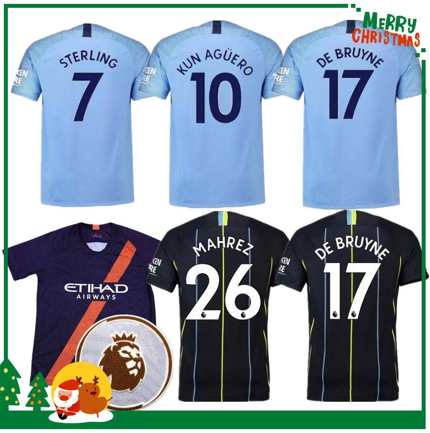 27e17a2da 18 19 KUN AGUERO Jersey 2018 2019 Manchester City KOMPANY SILVA ...