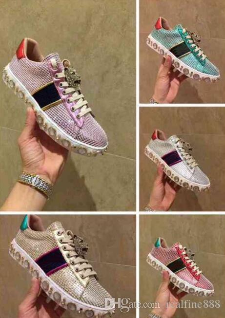 wholesale dealer 6ec4e 2d647 AAAAA 3124280 Low Top Ace Studded Sneaker,Sylvie Web ,Glass Pearl.Gold  Toned Studs,Rubber Sole,With Dust Bag Box Receipt White Shoes Wedges Shoes  From ...