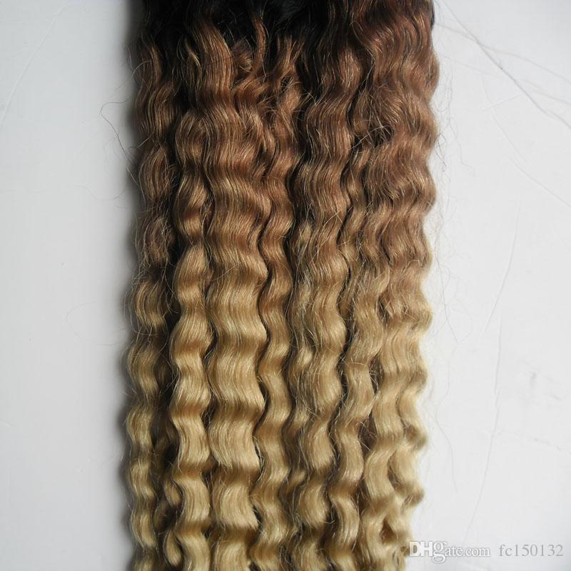 T1b / 613 блондинка ломбер человеческих волос афро кудрявый вьющиеся микро кольцо петли наращивание волос 100 г / шт вьющиеся микро бисера наращивание волос