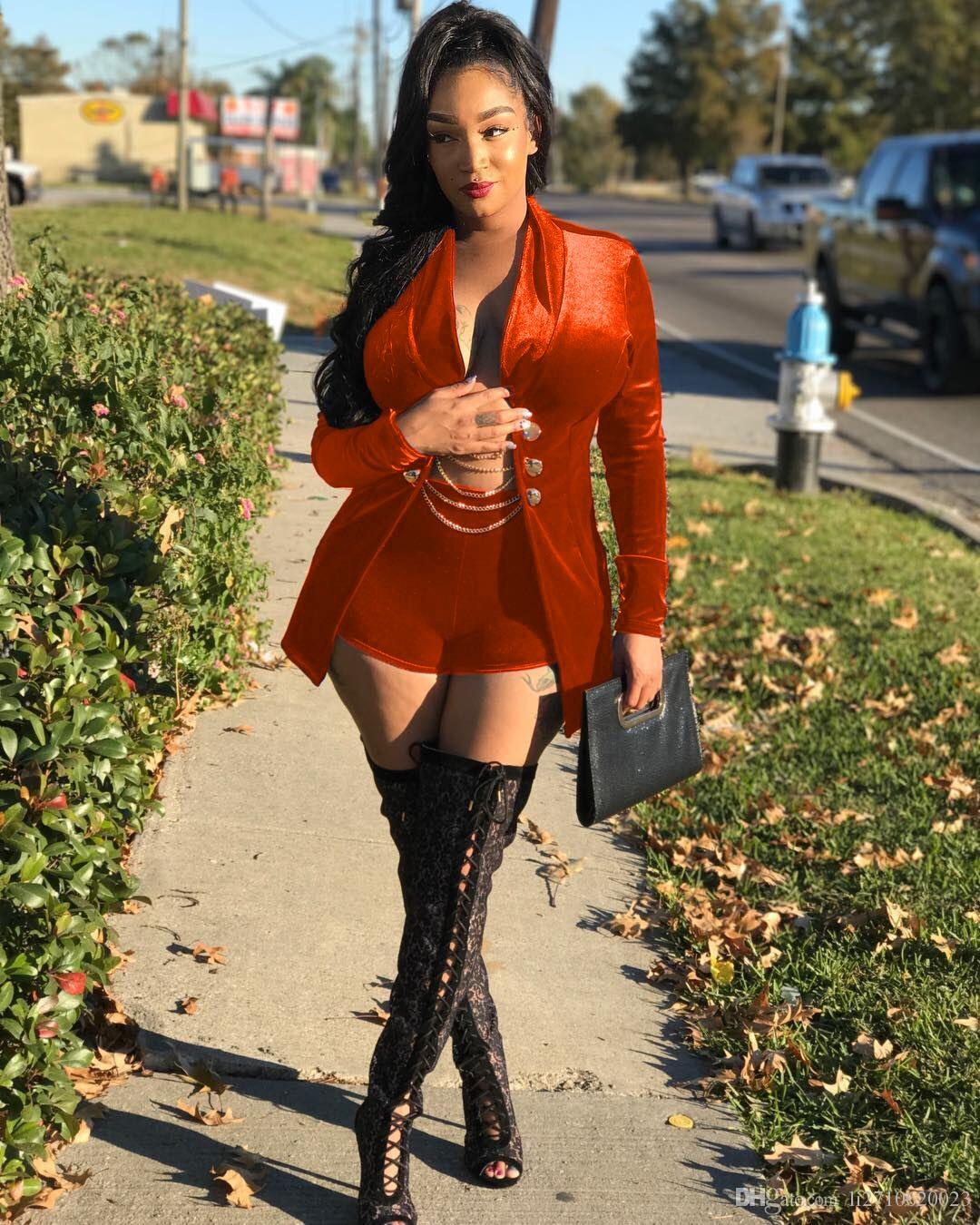 Velvet Suit Tracksuits Women Long Sleeve Chain Button Long Jacket Tops and Short Sexy Party Outfit Fashion Two Piece Set Ladies Suit