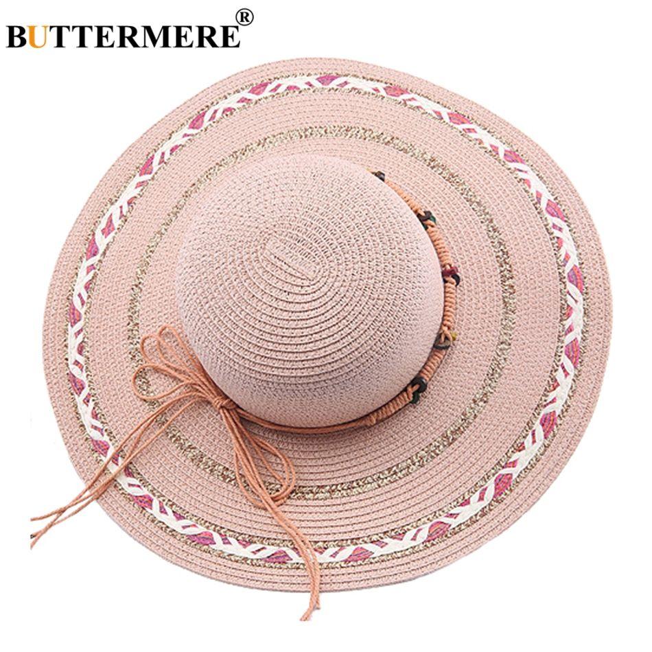 Compre BUTTERMERE Pink Sun Sombreros Para Mujeres Grandes Brim Bowknot  Sombreros De Paja Elegante Mujer Viajes Beach Ladies Panamá Cap Verano 2018  A  24.72 ... 2609863ba8b