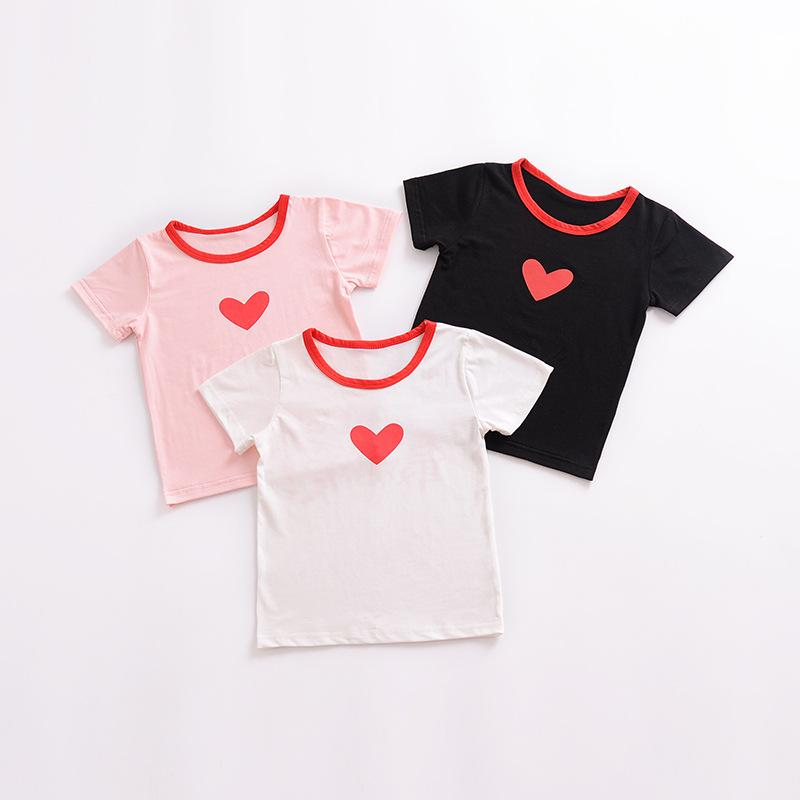 694c3013fa24 Baby Tops Summer Love Contrast Color T Shirt Boys Girls Short Sleeve ...