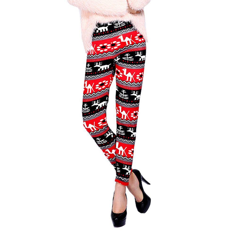 ba0c3166f2295 2019 Winter Women Christmas Snowflake Deer Printed Warm Fleece Stretchy  Leggings Thick Pencil Slim Nine Pants From Sikaku, $20.28   DHgate.Com
