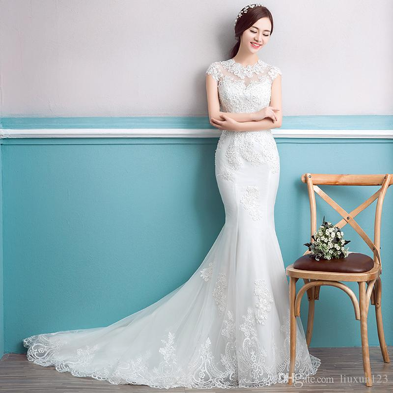 2017 New Type Of Thin Wedding Dress With Waist And Tail Wedding ...