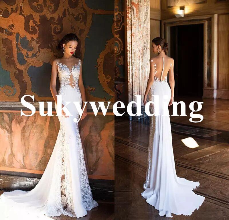 Abrir Atrás con cuentas vestidos de boda Vestidos de novia de playa vestidos de novia de encaje Milla Nova sirena sirena Sheer cuello de equipo vestido de novia