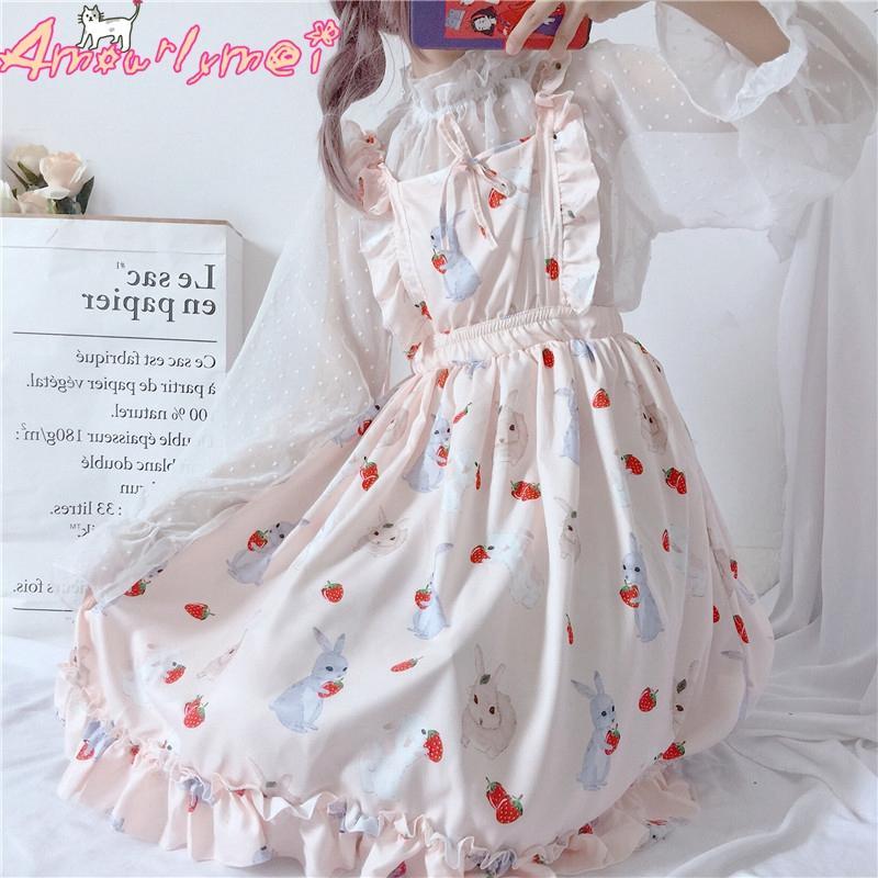 186ee3c77077 Montón Vestidos Japonesa Mori Chica Dulce Rosa Impresión de dibujos  animados Cintura alta Vestido de fiesta Vestido sin mangas 2018 Verano  Mujeres ...
