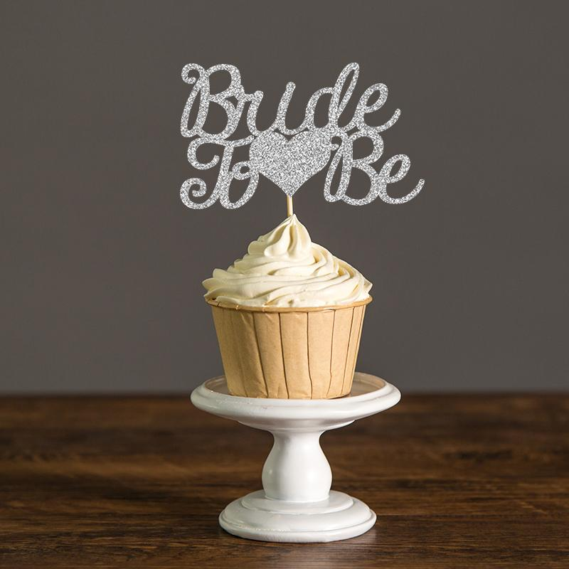 Gold & Silver Glitter Bride to Be Cupcake Toppers Wedding/Bridal Shower Decor Food Picks Party Favors Cake Decoration Supplies