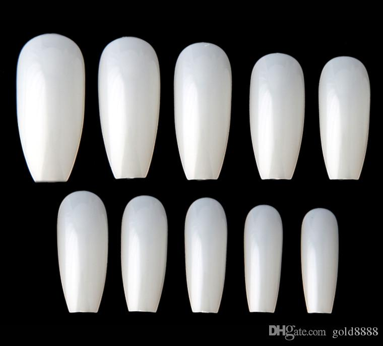 New Ballerina Nail Tips Full Coffin Shape French Fake Nail ...
