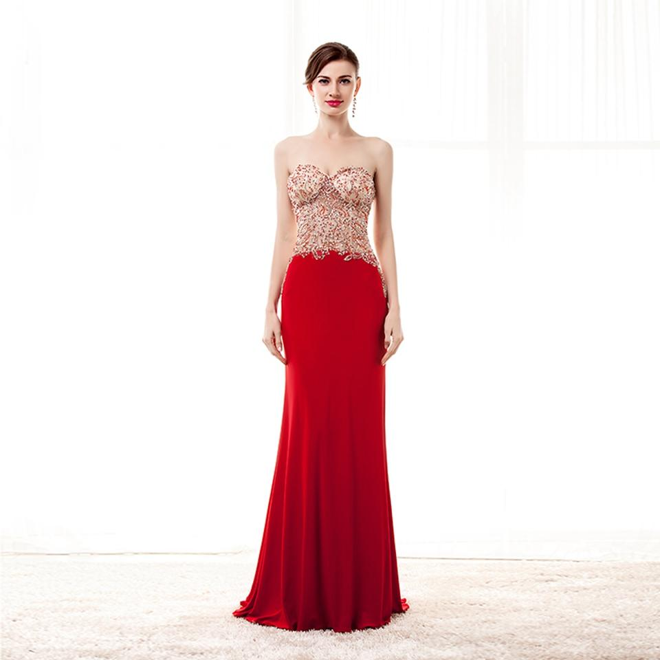 2018 Luxury Evening Dresses New Arrival Strapless Puffy Beaded Red Long Prom Party Dresses Robe De Soiree CZM1999