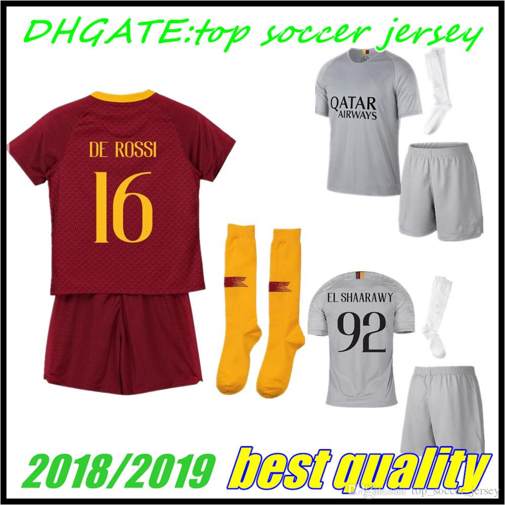 91adb89ac45 2019 18 19 Kids Roma Soccer Jersey Home DZEKO 2018 2019 DE ROSSI PEROTTI  NAINGGOLAN Away Totti EL SHAARAWY Football Shirts Qatar Airways Sponsors  From ...