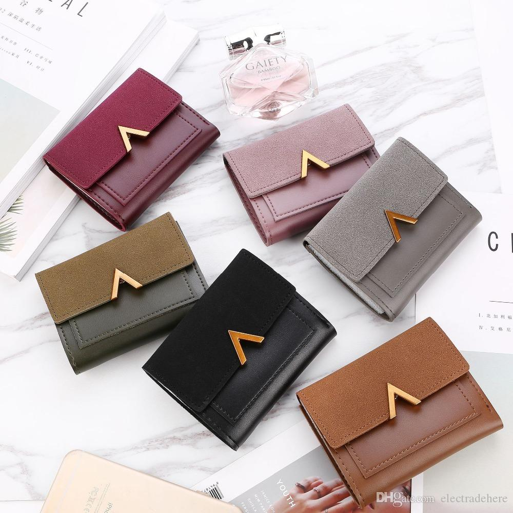 2d6b6a63058c1 Matte Leather Small Women Wallet Luxury Brand Famous Mini Womens Wallets  And Purses Short Female Coin Purse Credit Card Holder Purple Wallet Roots  Wallets ...