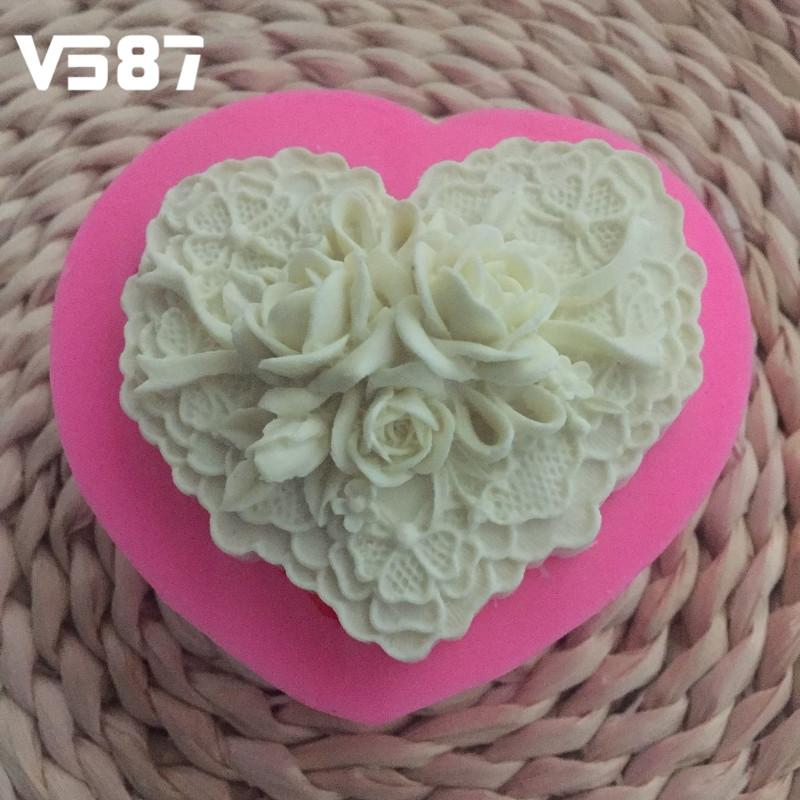 Romantic Rose Flowers Heart Silicone Molds Homemade Soap Mold Fondant Cake Mould Kitchen Baking Decorating Tools Wedding Favors