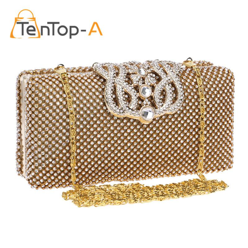 c3c5cd2108 TenTop A Top Quality Crown Rhinestone Evening Bag Two Sided Czech Diamond  Party Purse Bling Luxurious Wedding Clutch Bags Pouch Ladies Handbags  Leather Bags ...
