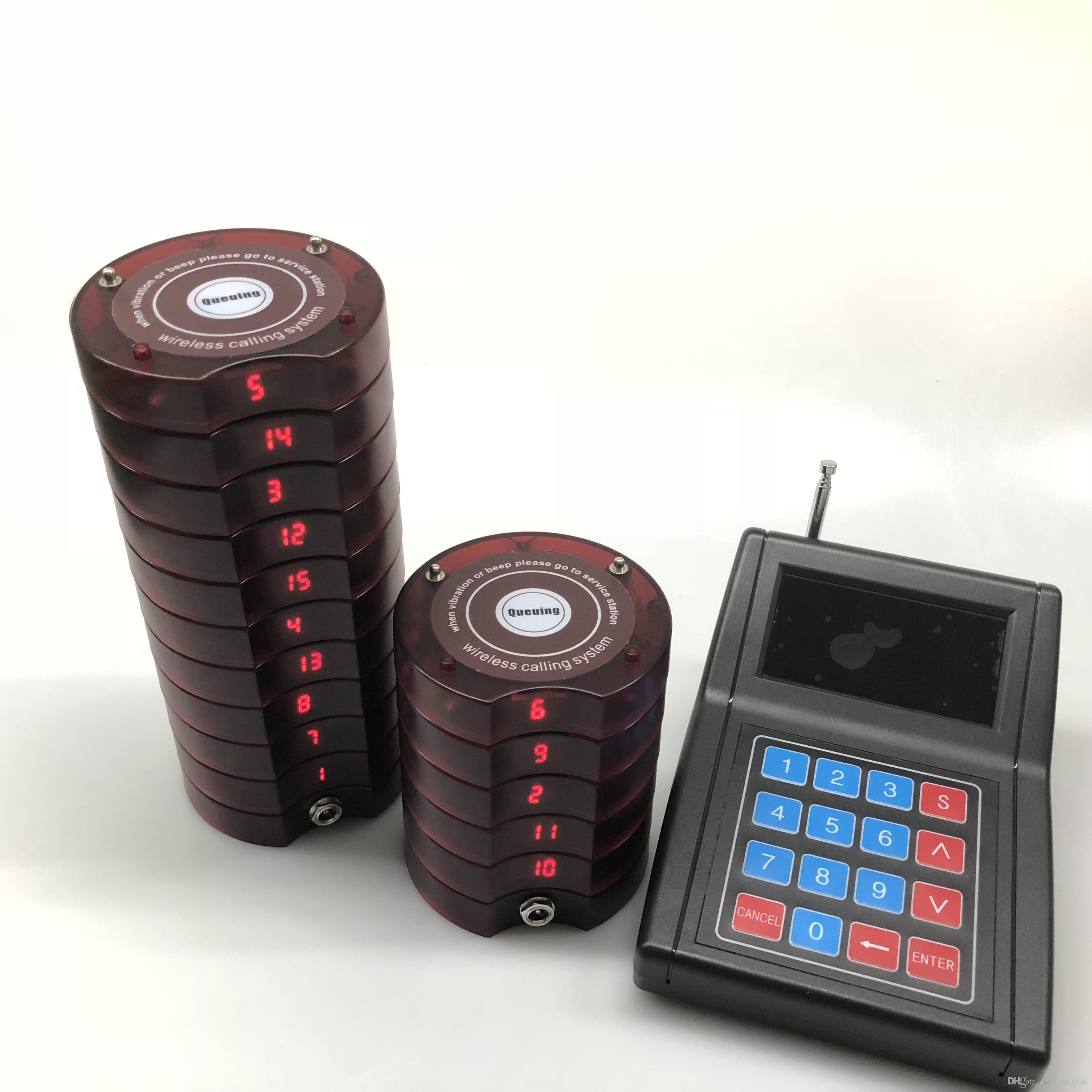 Acquista 15 Call Coaster Pager + 1 Keypad Transmitter Sistema Di Chiamata  Cercapersone Wireless Ristorante Food Court Coffee Shop Hotel A  200.0 Dal  ... 9eac94f8a354