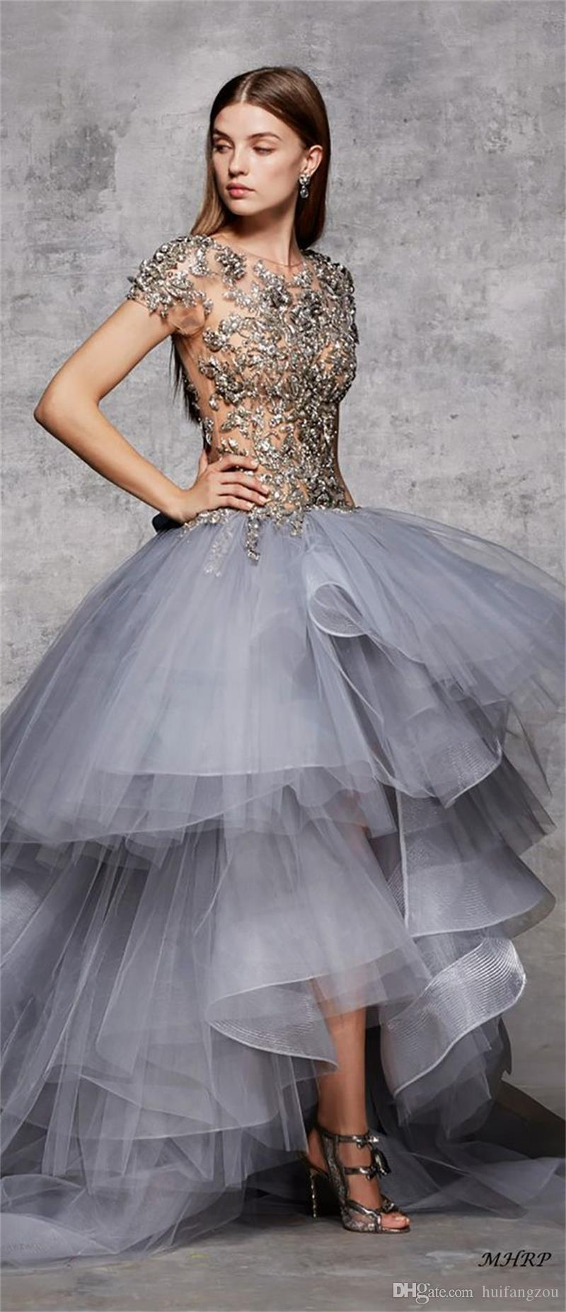 Marchesa Pre-Fall Gorgeous Prom Dresses High Quality Exquisite Beads Tiered Tulle Red Carpet Illusion Evening Gowns Formal Wear