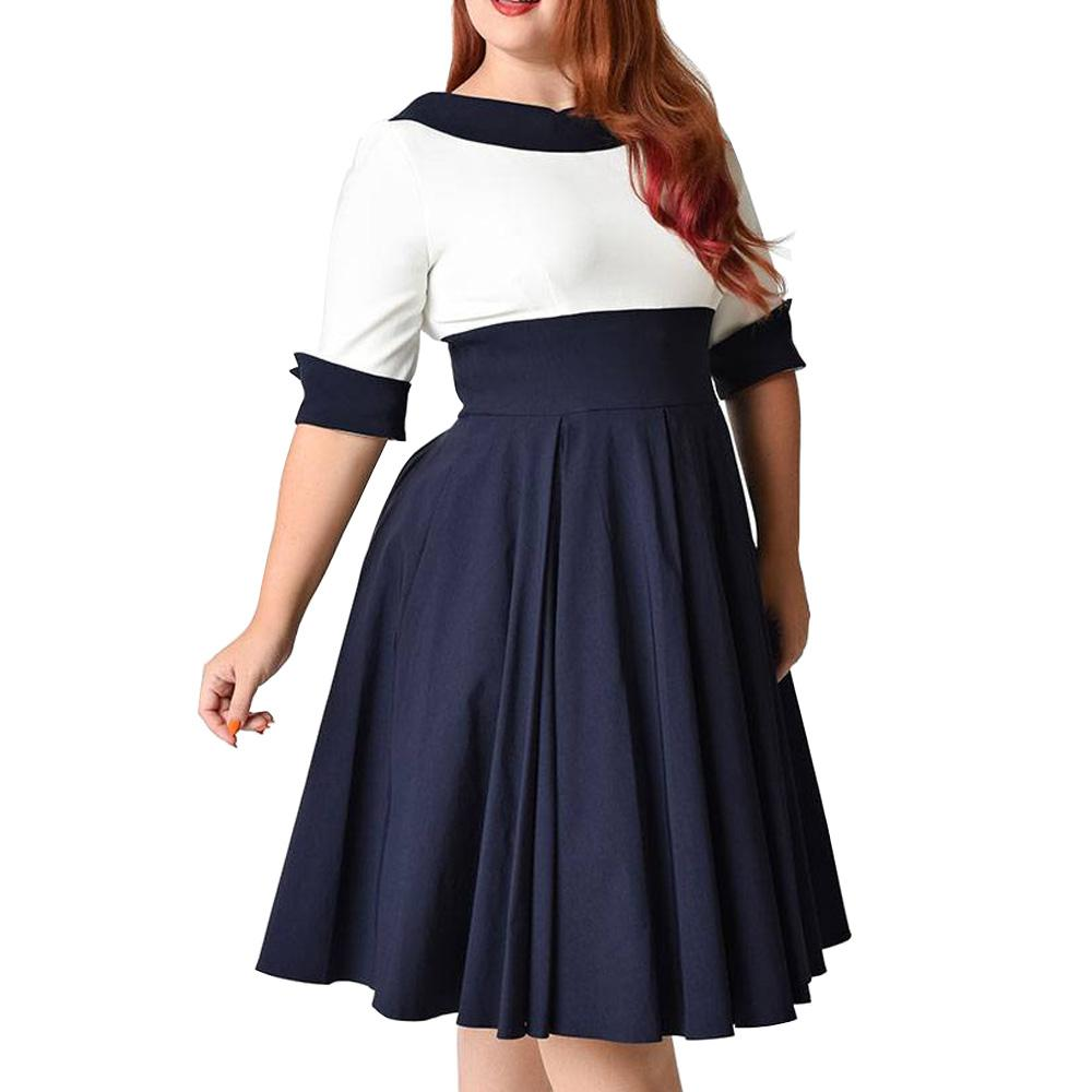 2019 Wipalo Plus Size 8XL Office Ladies Dress Cute Peter Pan Collar ...