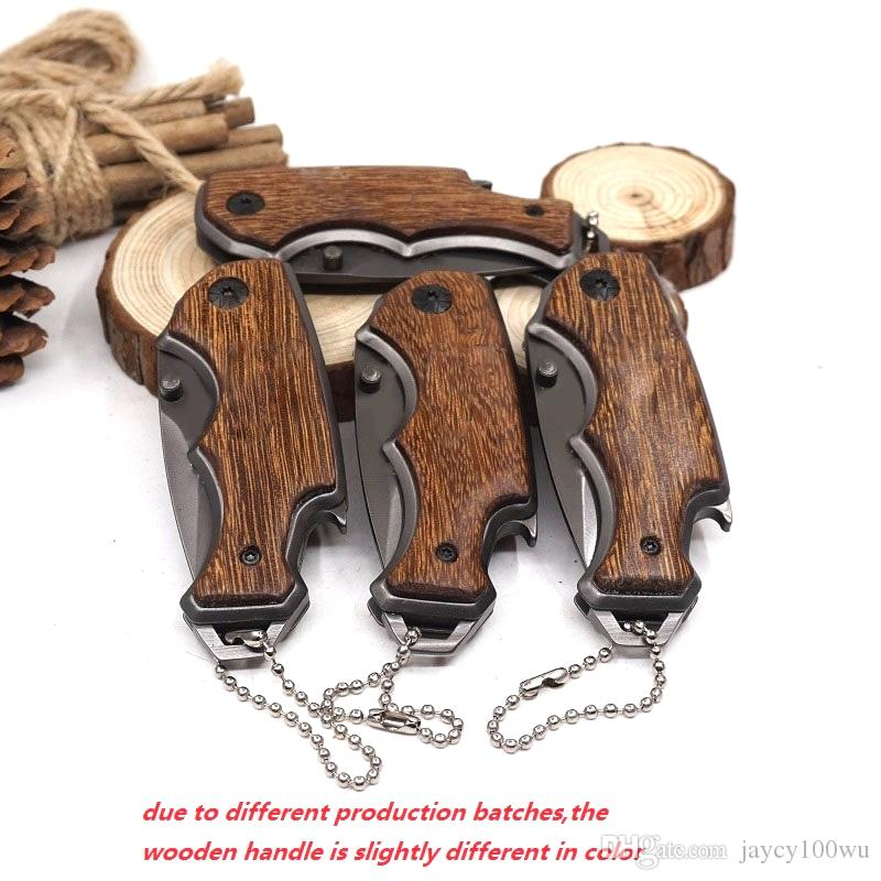 Mini bolsillo cuchillo plegable táctico cuchillo de supervivencia de supervivencia que acampa al aire libre 440 mango madera mango de acero multi herramienta herramienta de caza