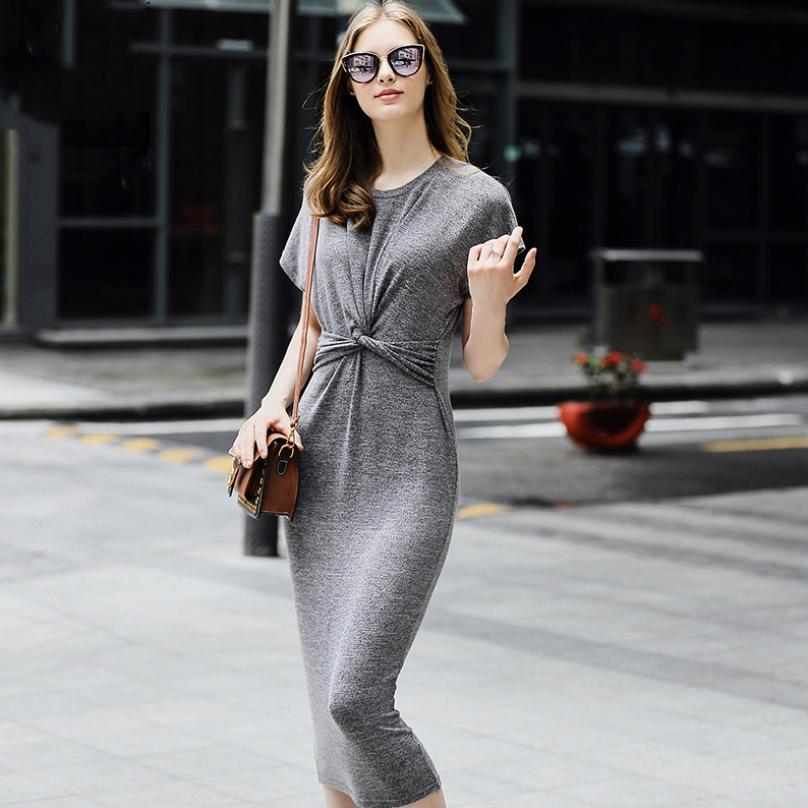 4a622d8c90 Abito da donna semplice lavorato a maglia Abito da ufficio casual grigio  solido da ufficio donna Abiti Vestido Juvenil manica corta vestito a matita  ...