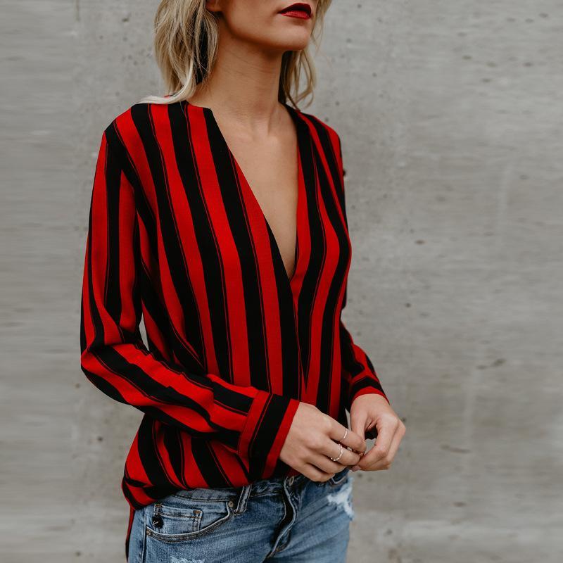 wholesale dealer 18d2c 74bb0 Damen Bluse rot und schwarz gestreiften Tops V-Ausschnitt lose  Langarm-Shirt Casual Bluse Shirt Tops neue Mode Blusas Damen