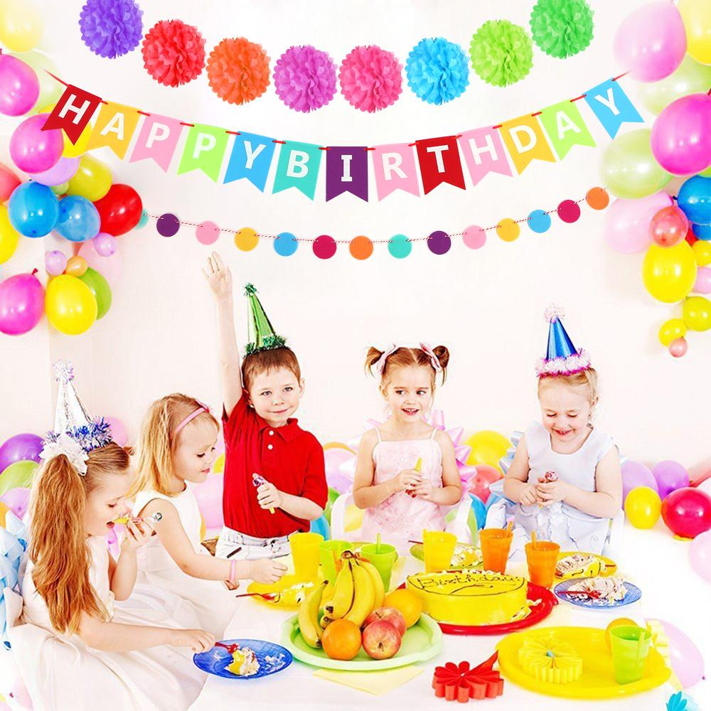 Colorful Birthday Party Decoration Supplies Happy Banner Tissue Pom Poms Garland Circle Dots Balloons For Supply Online With 3351 Piece On