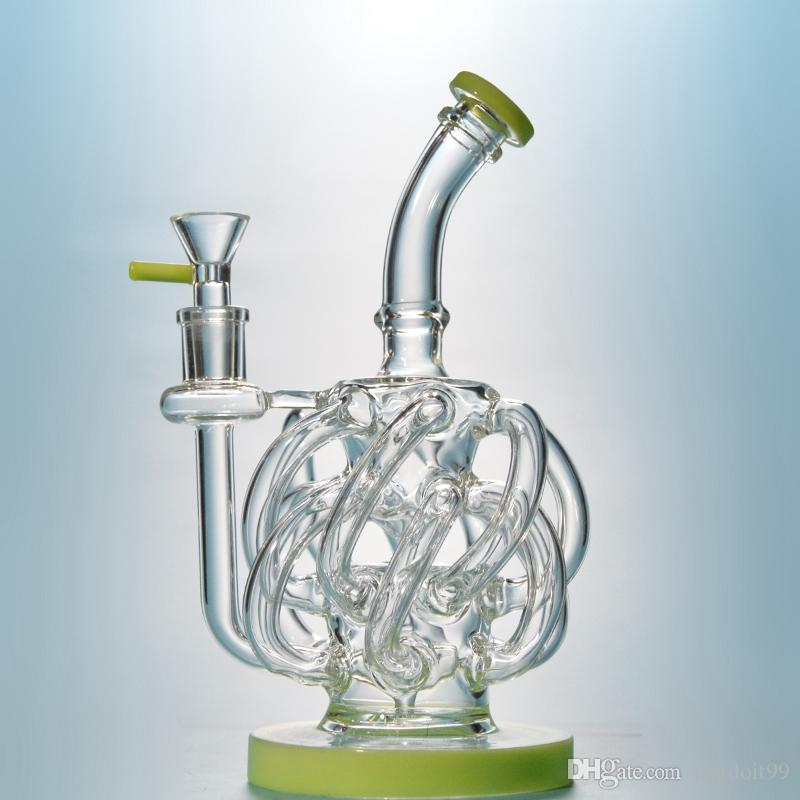 Vortex Recycler Bong Dab Oil Rigs Glass Water Pipes With 12 Reccyler Glass Tube 14.5mm Joint Purple Glass Water Pipe XL137