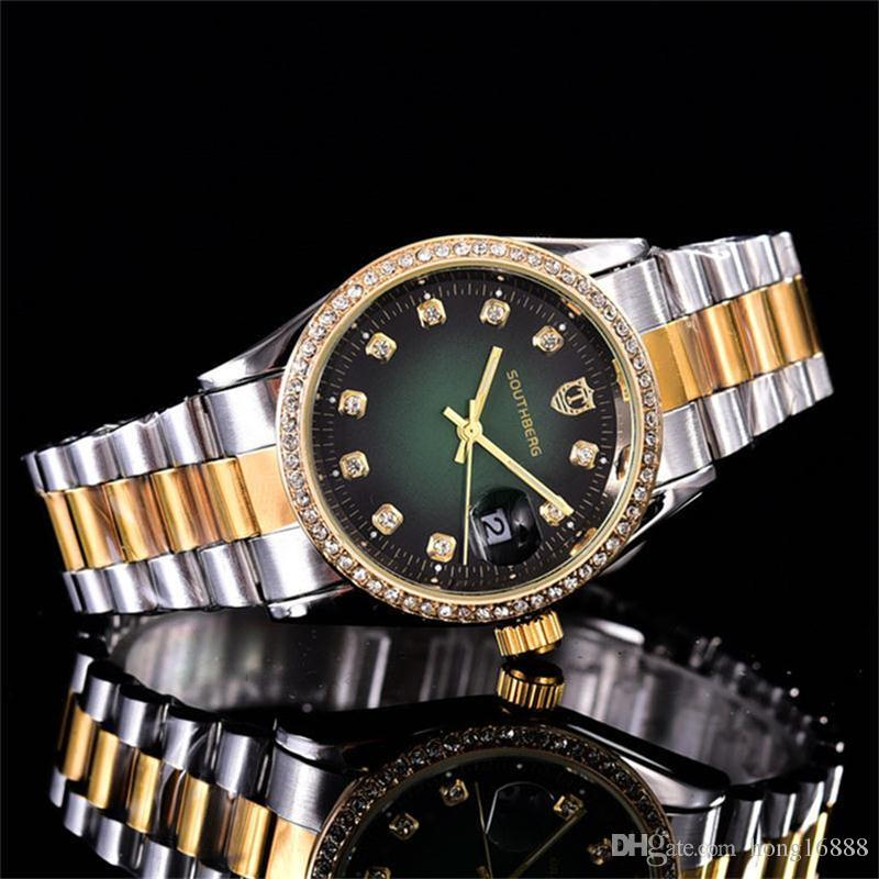 37c84dcec5b Compre Relogio Luxo Das Mulheres Diamante Azul Relógio Mulher Relógios De  Quartzo Data Pulseira De Aço Inoxidável Business Casual Relógios Frete  Grátis De ...