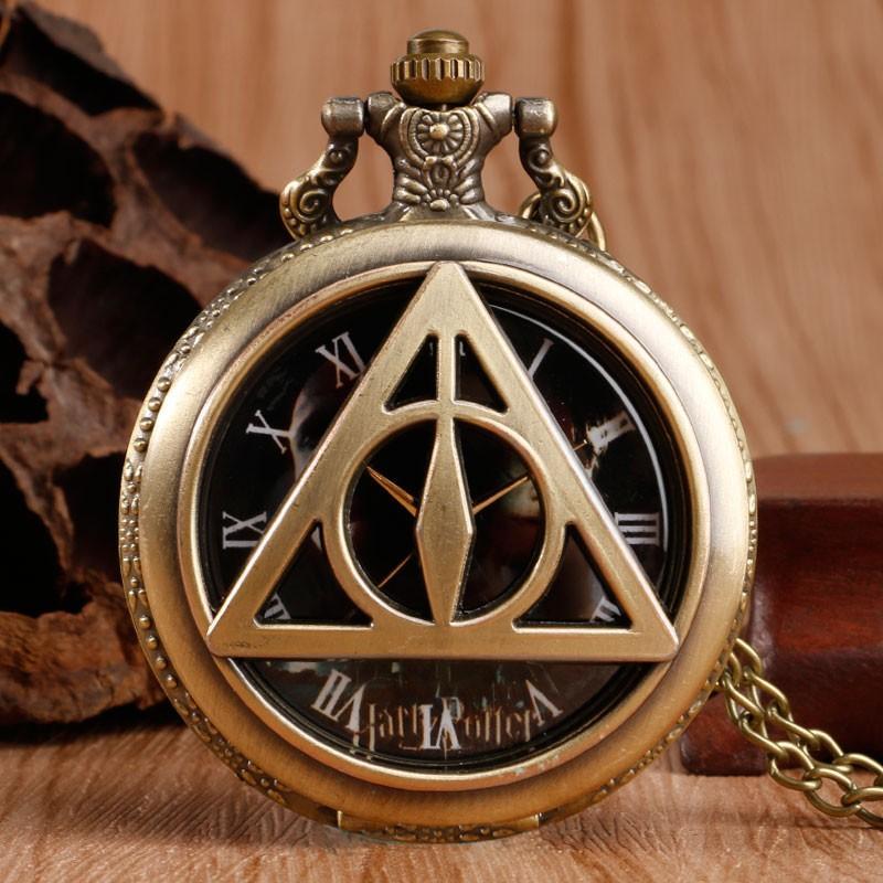 The Deathly Hallows Triangle Vintage Quartz Pocket Watch Classic Popular Boy Girl Gift
